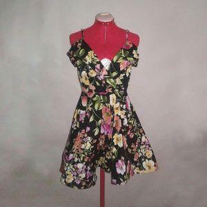 Anthropologie Lulumari black floral dress